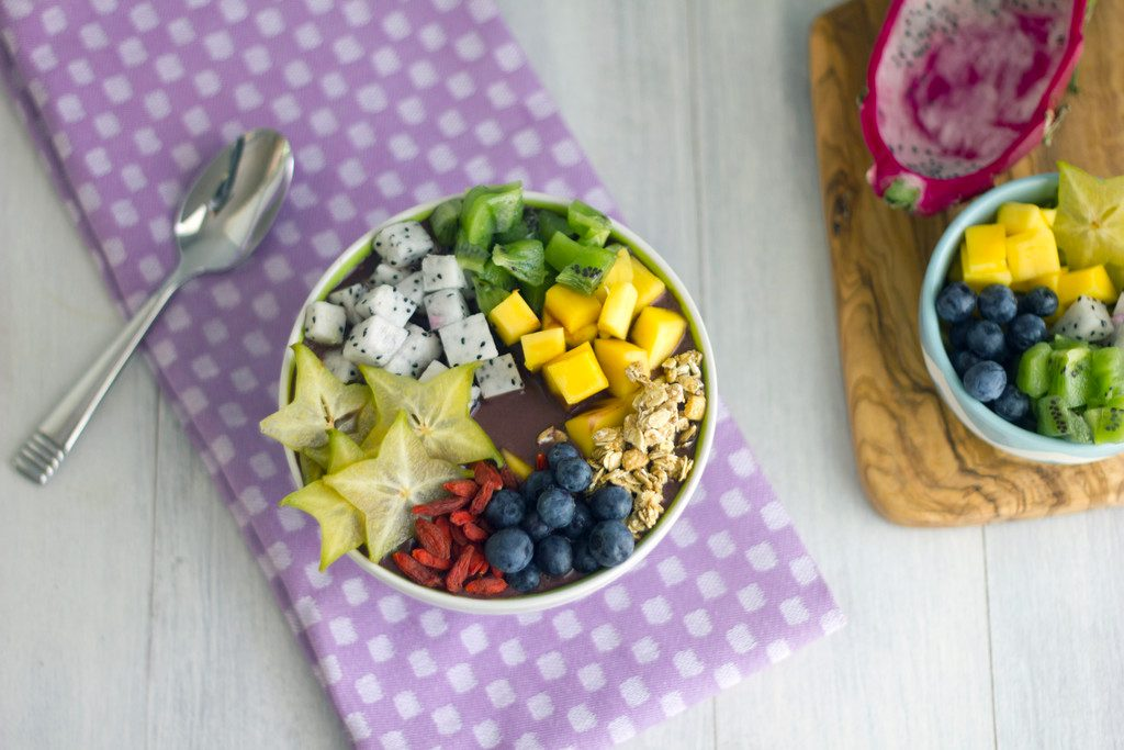 Tropical Acai Bowls -- These colorful and healthy acai bowls will get your day off to a great start   wearenotmartha.com