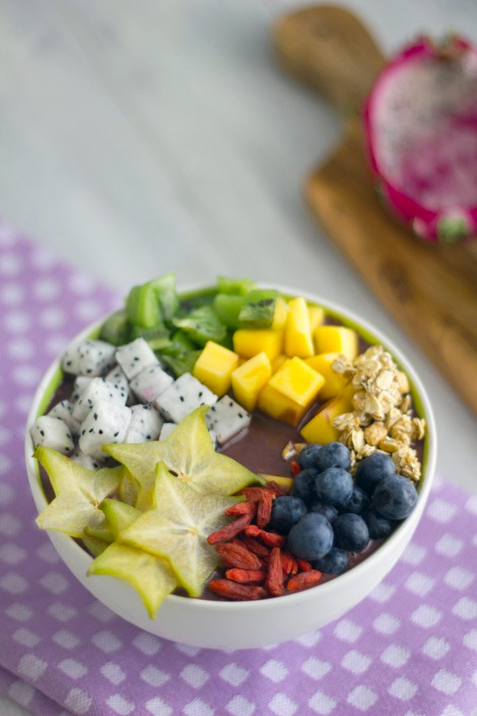 Tropical Acai Bowls -- These colorful and healthy acai bowls will get your day off to a great start | wearenotmartha.com