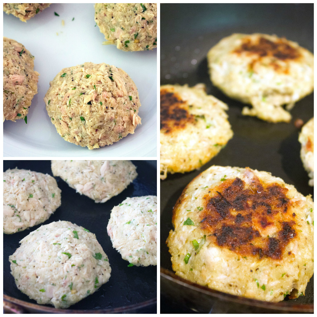 Collage showing process for grilling jalapeño tuna burgers, including burger patties formed on plate, burger patties cooking in skillet, and burgers fully cooked in skillet