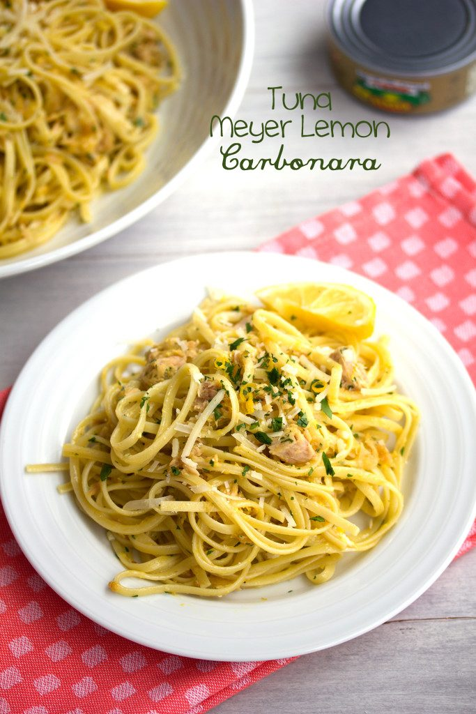 Tuna Meyer Lemon Carbonara -- What could be better than a big bowl of pasta with citrus and tuna? | wearenotmartha.com