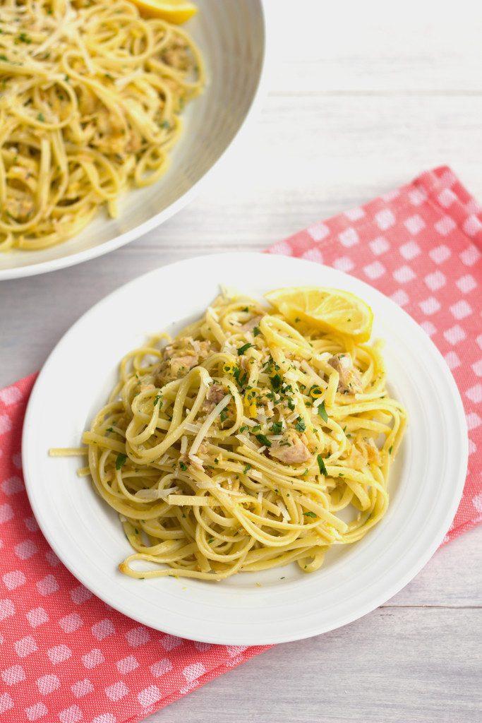 Tuna Meyer Lemon Carbonara -- What could be better than a big bowl of pasta with citrus and tuna?   wearenotmartha.com