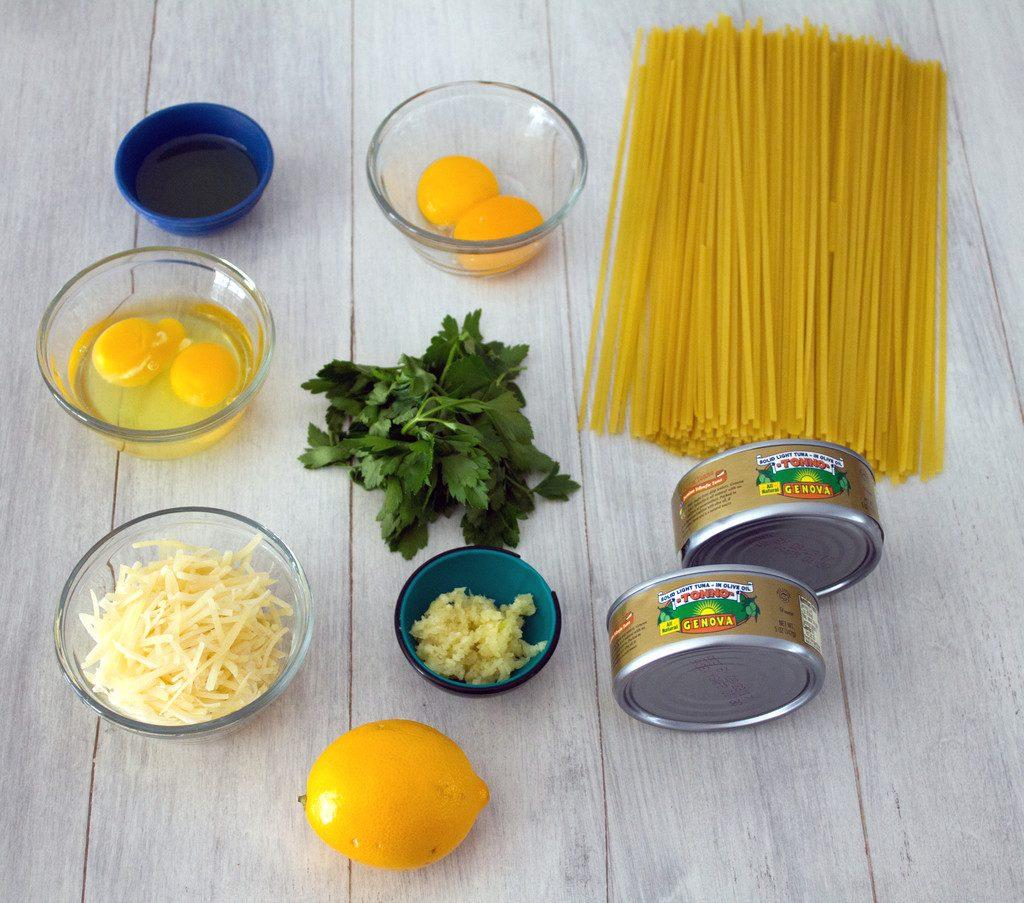 Tuna Meyer Lemon Carbonara Ingredients | wearenotmartha.com