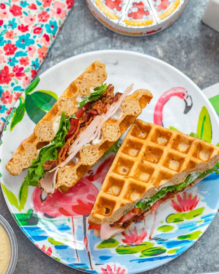 Turkey BLT Waffle Sandwiches -- Stop eating boring sandwiches! You can make lunchtime more exciting with these Turkey BLT Waffle Sandwiches... They're perfect for kids' school lunches, but adults will love them, too! | wearenotmartha.com #wafflesandwiches #schoollunches #sandwiches #BLTs