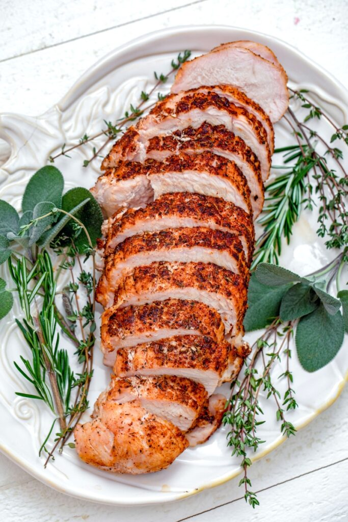 overhead view of chili-rubbed turkey breast on platter