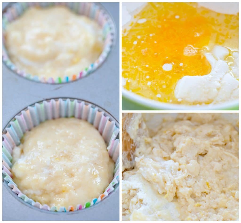 Collage showing process for making Tuscan lemon muffins, including wet ingredients poured into dry ingredients, batter mixed in bowl, and batter in muffin liners in tin