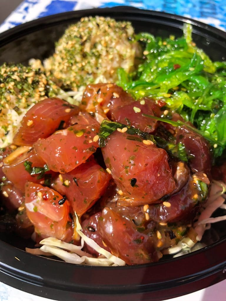 Poke bowl with lots of tuna, seaweed salad, and brown rice at Umeke's in Kona on the Big Island of Hawaii