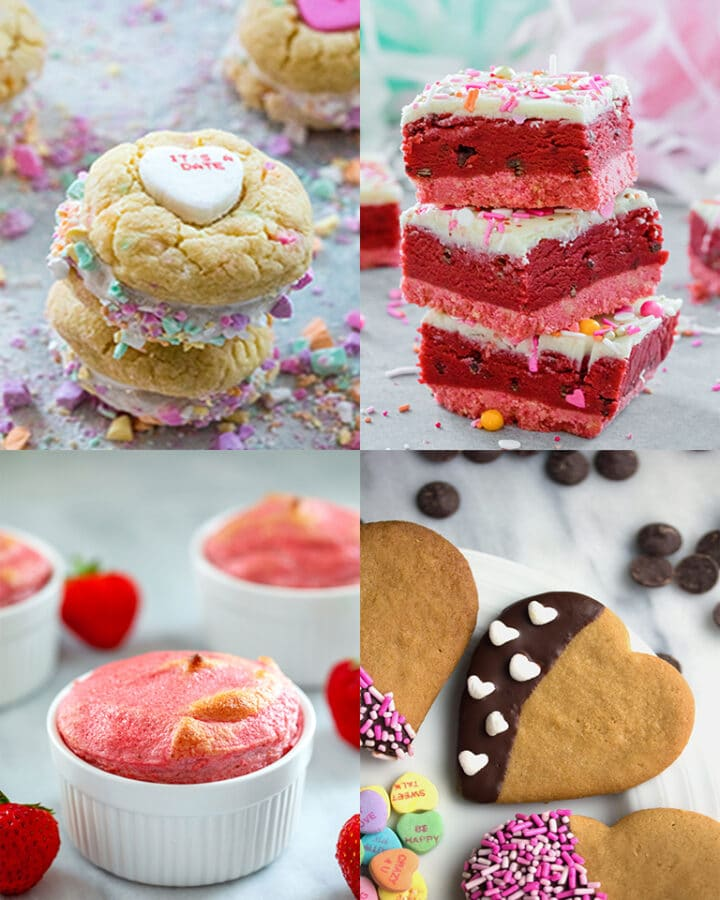 Collage of Valentine's Day desserts, including conversation heart cookies, red velvet cookie dough bars, strawberry souffles, and heart-shaped peanut butter cookies