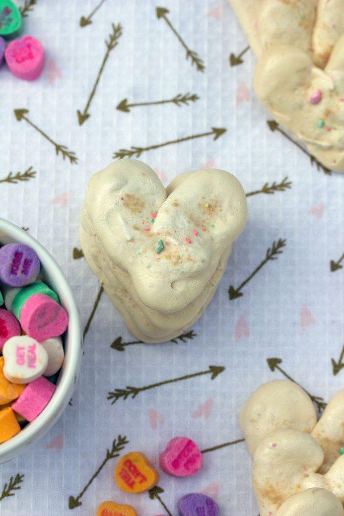 Valentine's Day Heart Meringues -- Incorporate conversation hearts into this sweet treat | wearenotmartha.com