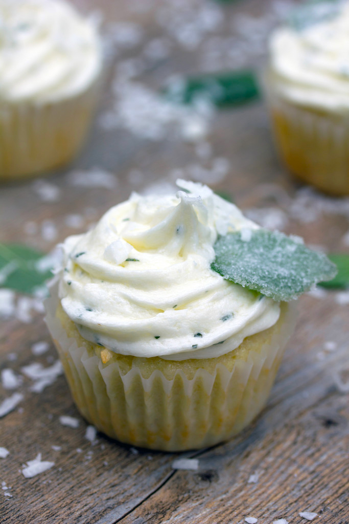 Overhead view of a coconut cupcake with white fresh chocolate mint frosting topped with a sugared chocolate mint leaf with lots of shredded coconut all around