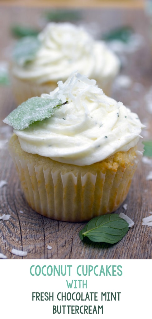 Coconut Cupcakes with Fresh Chocolate Mint Buttercream -- Have a plethora of fresh chocolate mint in your herb garden this season? Make these super moist and fluffy Coconut Cupcakes with Fresh Chocolate Mint Buttercream | wearenotmartha.com #cupcakes #coconut #chocolatemint #buttercream #frosting