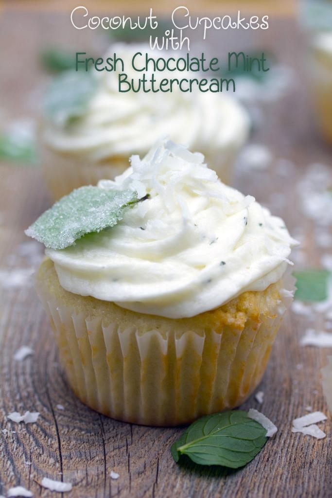 Vanilla Coconut Chocolate Mint Cupcakes