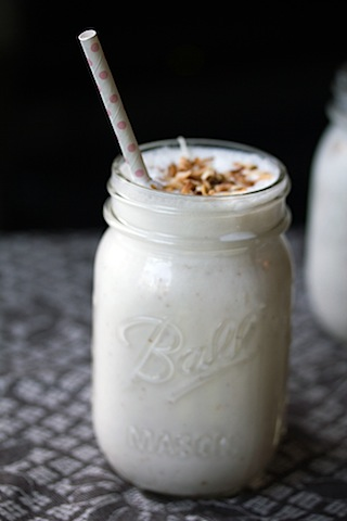 Vanilla Coconut Milkshake -- This milkshake has just three ingredients and tastes like heaven! | wearenotmartha.com