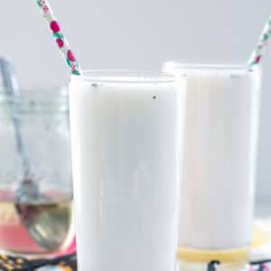 Vanilla Egg Cream -- Have you ever had a classic soda shop egg cream? Believe it or not, they don't involve eggs! This Vanilla Egg Cream recipe is super simple and packed with vanilla flavor   wearenotmartha.com