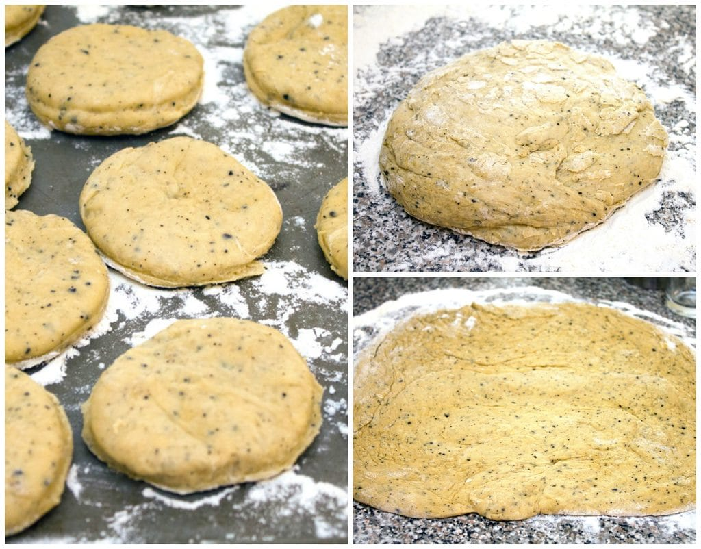 Collage showing process for cutting vanilla latte doughnuts, including dough resting on floured surface, dough rolled out, and dough rounds cut out and sitting on baking sheet