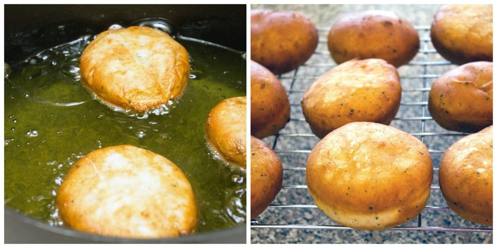 Collage showing process for frying vanilla latte doughnuts, including dough rounds frying in canola oil and fried doughnuts cooling on metal baking rack