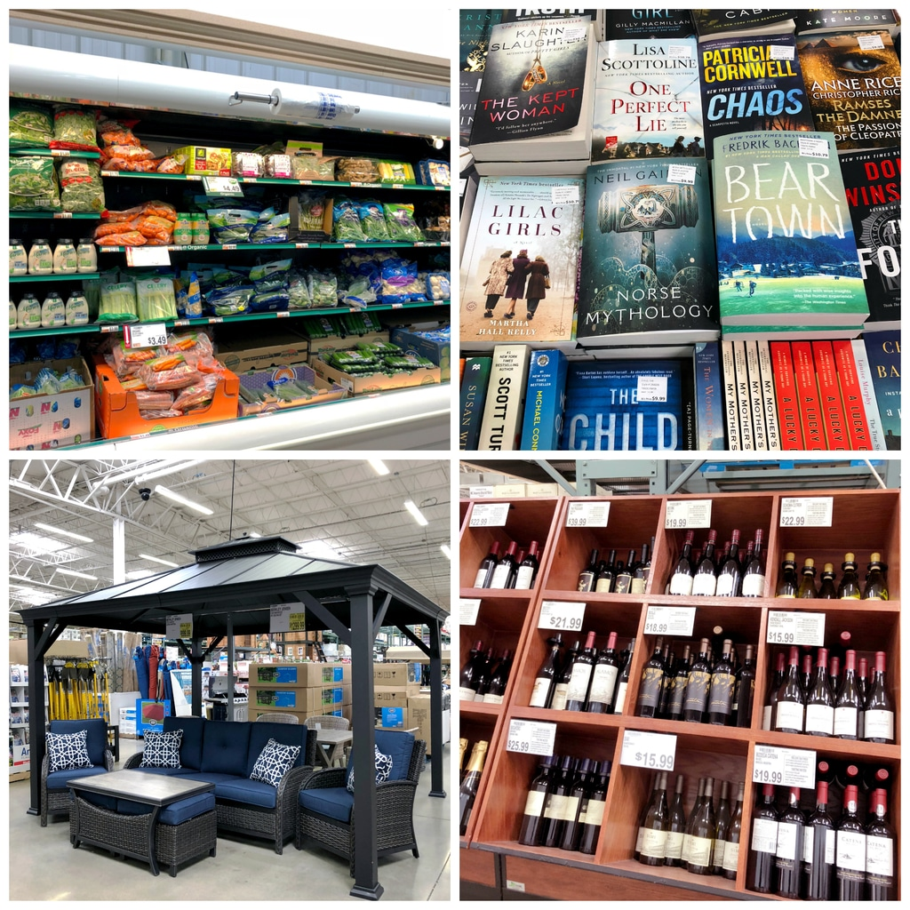 A collage showing various sections of BJ's Wholesale Club, including fresh produce, books, patio furniture, and wine