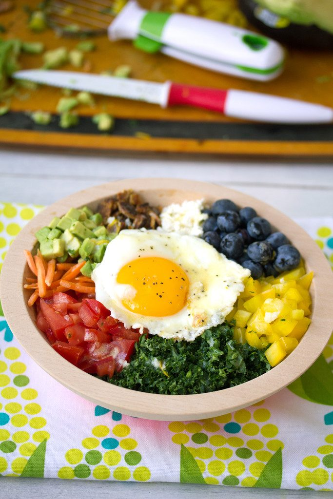 Veggie Breakfast Bowl -- A rainbow of vegetables topped with an egg | wearenotmartha.com