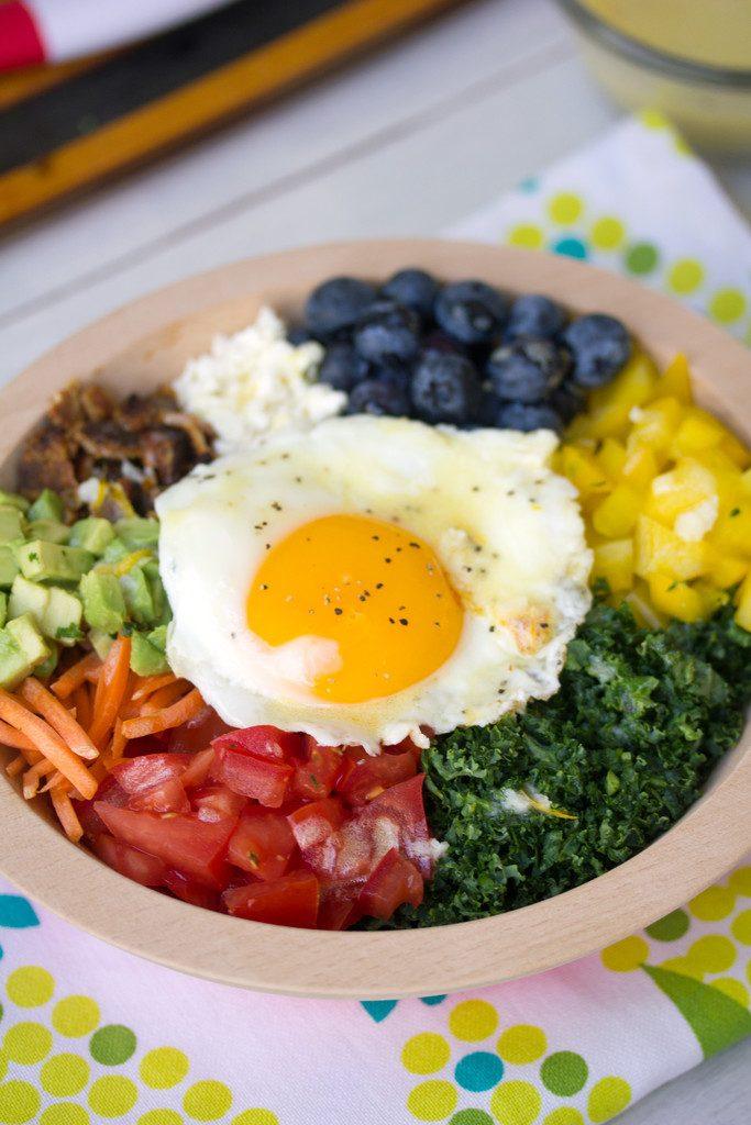 Veggie Breakfast Bowl -- A rainbow of vegetables topped with an egg | wearenotmartha.com