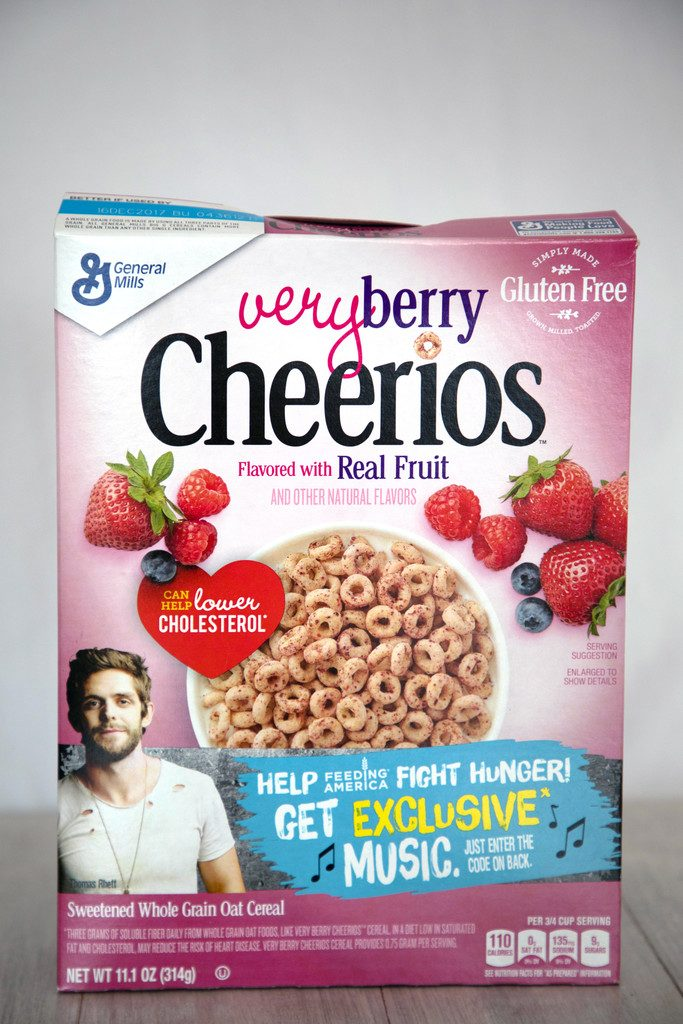 Head-on view of a large box of Very Berry Cheerios