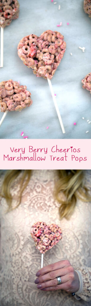 Very Berry Cheerios Marshmallow Treat Pops -- Rice Krispies Treats Style Pops made with Very Berry Cheerios and freeze-dried strawberries | wearenotmartha.com