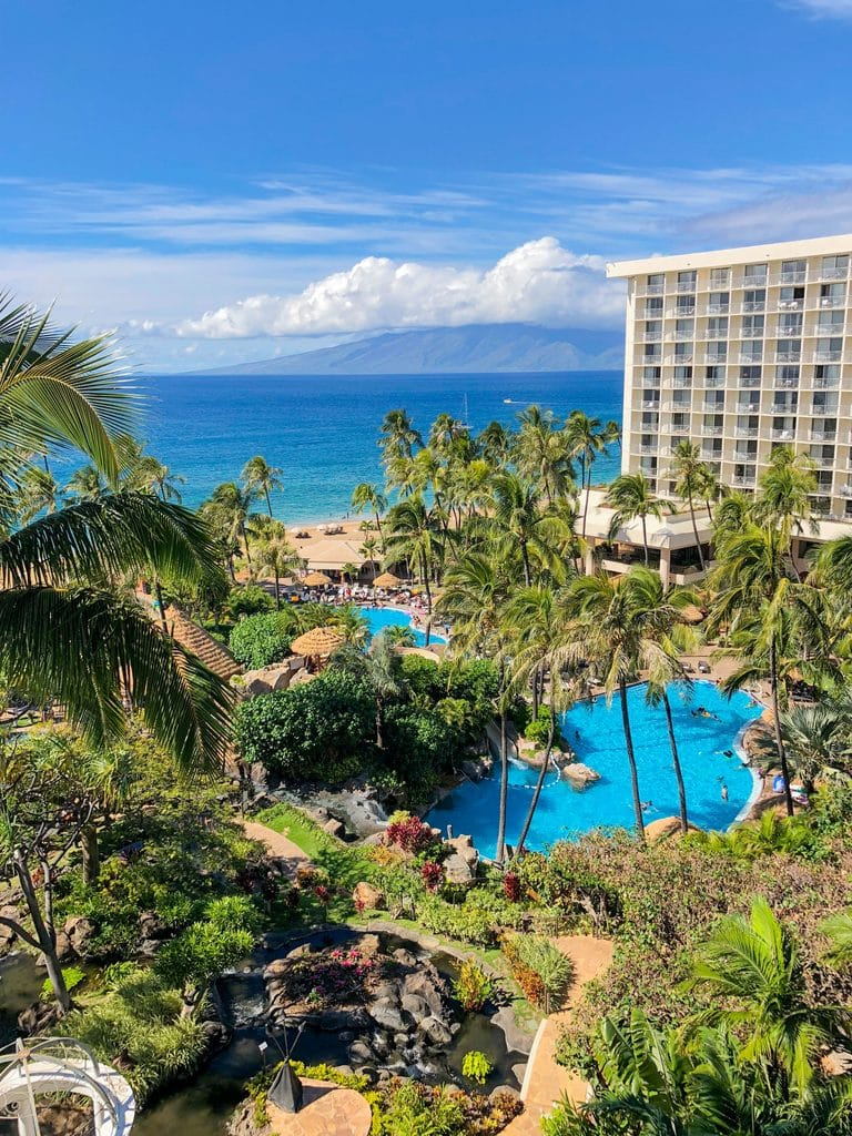 A view of pools and the beach from our room at the Westin Maui Kaanapali Beach