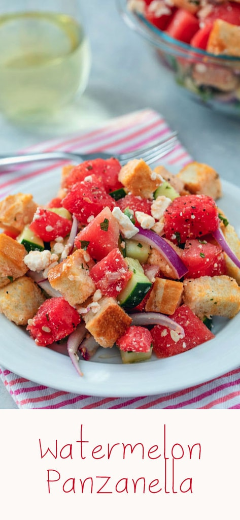 Watermelon Panzanella -- This may not be a traditional panzanella salad, but Watermelon Panzanella Salad is packed with fresh summer ingredients (along with some carbs and cheese, of course) and is the perfect summer side dish | wearenotmartha.com #panzanella #watermelon #salad #summer