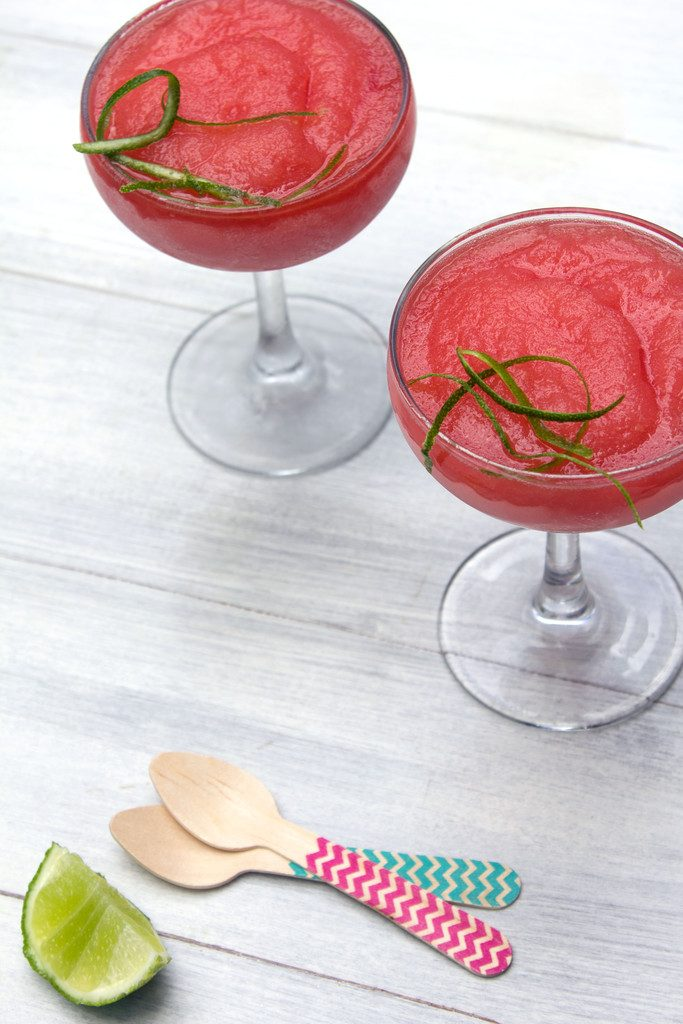 Watermelon Rosé Slushies -- This sweet frozen treat combines watermelon, pink wine, and lime juice into a summertime slush | wearenotmartha.com
