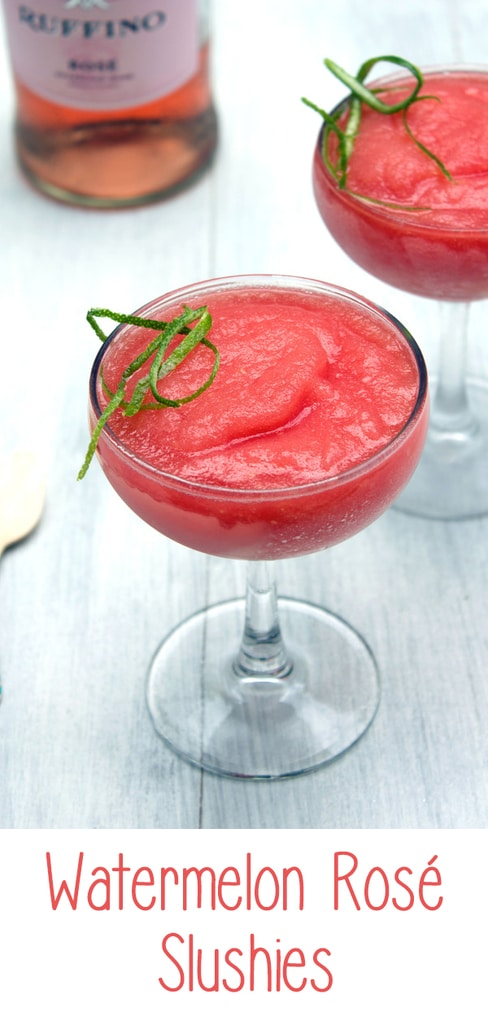 Watermelon Rosé Slushies -- This sweet frozen treat combines watermelon, rosé, and lime juice into a summertime slush | wearenotmartha.com #rosé #slushies #watermelon #summer