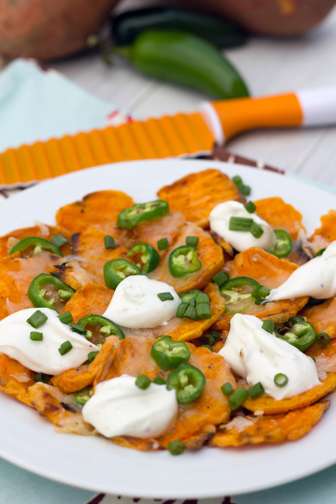 Wavy Sweet Potato Nachos with Whipped Goat Cheese 11