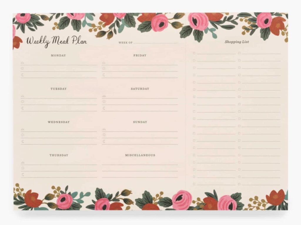 Weekly meal plan sheets