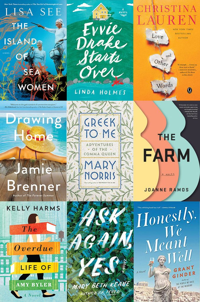 Collage showing covers of all the books I read in April 2019, including The Island of Sea Women, Evvie Drake Starts Over, Love and Other Words, Drawing Home, Greek to Me, The Farm, The Overdue Life of Amy Byler, Ask Again Yes, and Honestly We Meant Well