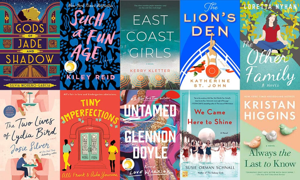 Collage showing the covers of all the books I read in April 2020, including Gods of Jade and Shadow, Such a Fun Age, East Coast Girls, The Lion's Den, The Other Family, The Two Lives of Lydia Bird, Tiny Imperfections, Untamed, We Came Here to Shine, and Always the Last to Know