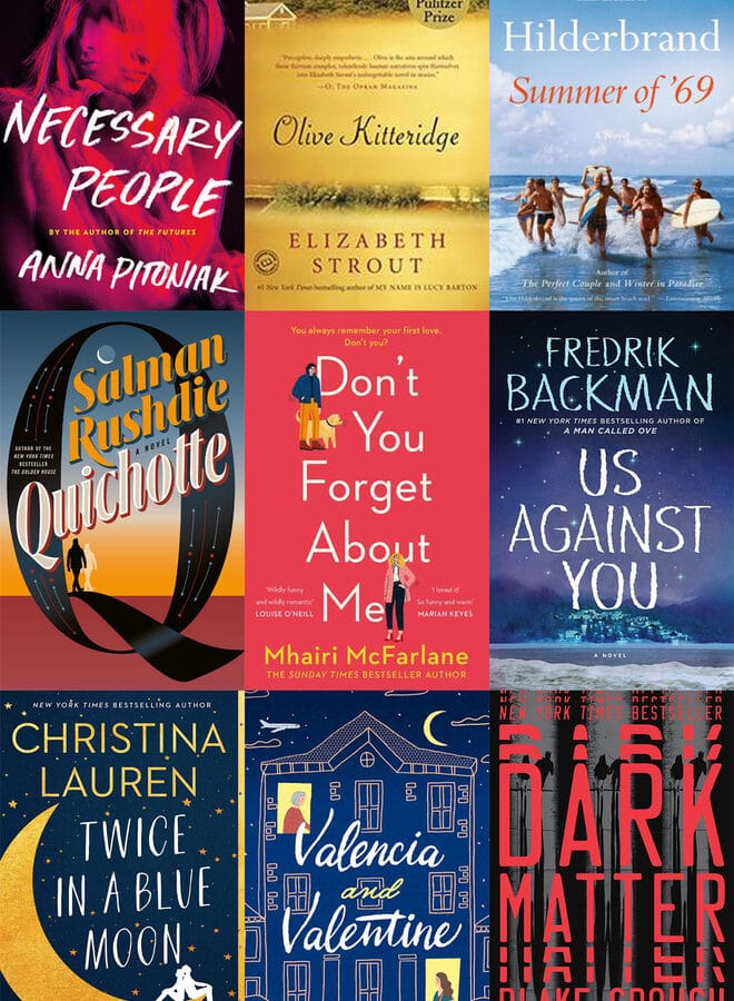 Collage of book covers featuring books I read in August 2019, including Necessary People, Olive Kitteridge, Summer of '69, Quichotte, Don't You Forget About Me, Us Against You, Twice in a Blue Moon, Valencia and Valentine, and Dark Matter