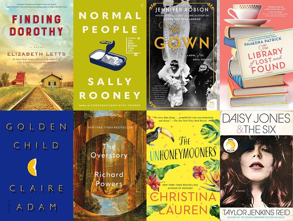 Collage showing the covers of the eight books I read in February 2019, including Finding Dorothy, Normal People, The Gown, The Library of Lost and Found, Golden Child, The Overstory, The Unhoneymooners, and Daisy Jones and the Six