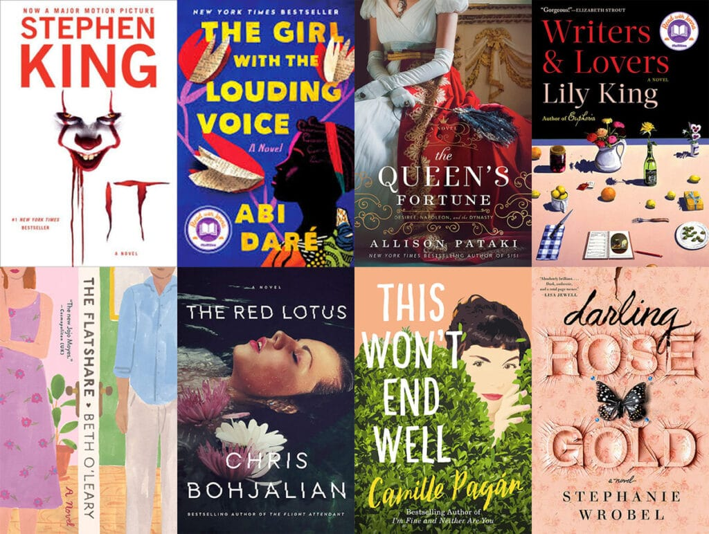 Collage showing the covers of all the books I read in February 2020, including IT, The Girl with the Louding Voice, The Queen's Fortune, Writers & Lovers, The Flatshare, The Red Lotus, This Won't End Well, and Darling Rose Gold.