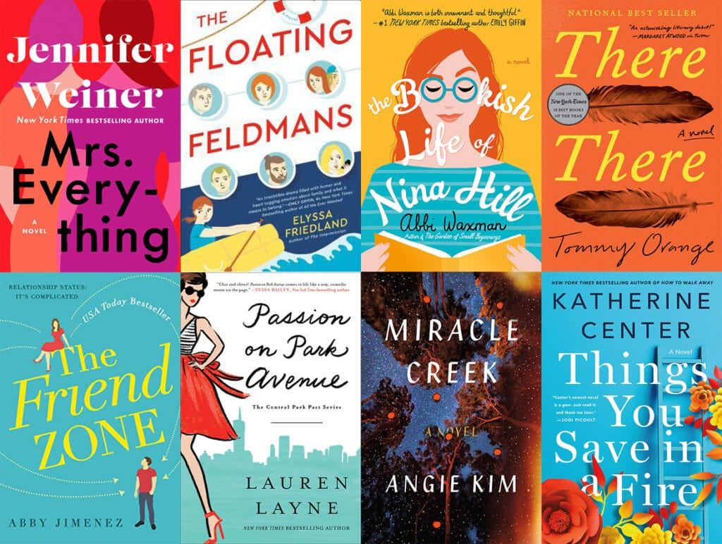 Collage of book covers featuring books I read in June 2019, including Mrs. Everything, The Floating Feldmans, The Bookish Life of Nina Hill, There There, The Friend Zone, Passion on Park Avenue, Miracle Creek, and Things You Save in a Fire