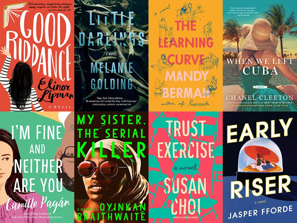 Collage showing covers of all the books I read in March 2019, including Good Riddance, Little Darlings, The Learning Curve, When We Left Cuba, I'm Fine and Neither Are You, My Sister the Serial Killer, Trust Exercise, and Early Riser
