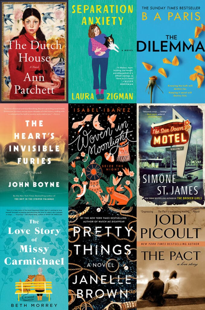 Collage showing the covers of all the books I read in March 2020, including The Dutch House, Separation Anxiety, The Dilemma, The Heart's Invisible Furies, Woven in Moonlight, The Sun Down Motel, The Love Story of Missy Carmichael, Pretty Things, and The Pact