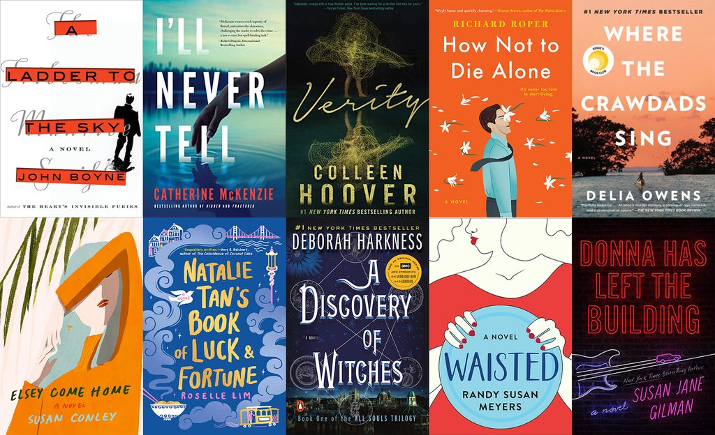 Collage of book covers featuring books I read in May 2019, including, A Ladder to the Sky, I'll Never Tell, Verity, How Not to Die Alone, Where the Crawdads Sing, Elsey Come Home, Natalie Tan's Book of Luck and Fortune, A Discovery of Witches, Waisted, and Donna Has Left the Building