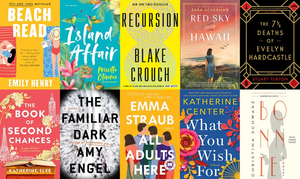 Collage showing the covers of all the books I read in May 2020, including Beach Read, Island Affair, Recursion, Red Sky Over Hawaii, The 7 ½ Deaths of Evelyn Hardcastle, The Book of Second Chances, The Familiar Dark, All Adults Here, What You Wish For, and Bonnie
