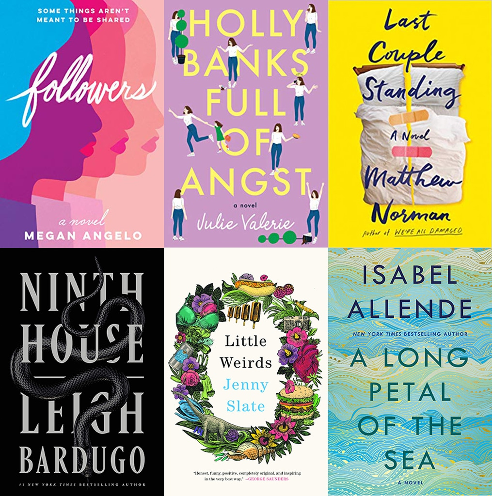 Collage showing the covers of all the books I read in November 2019, including Followers, Holly Banks Full of Angst, Last Couple Standing, Ninth House, Little Weirds, and A Long Petal of the Sea.