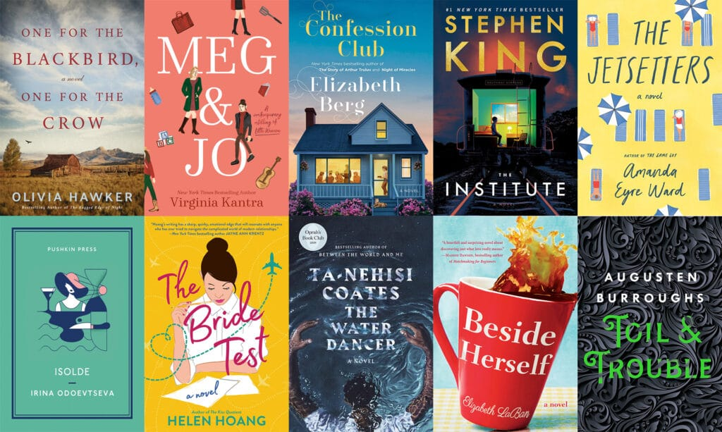 Collage showing book covers for all the books I read in October 2019, including One for the Blackbird, One for the Crow; Meg & Jo; The Confession Club; The Institute; The Jetsetters; Isolde; The Bride Test; The Water Dancer; Beside Herself; and Toil & Trouble