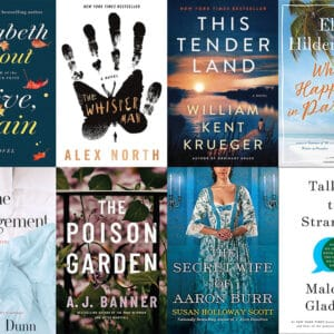 Collage of book covers featuring books I read in September 2019, including Olive, Again; The Whisper Man; This Tender Land; What Happens in Paradise; The Arrangement; The Poison Garden; The Secret Wife of Aaron Burr; and Talking to Strangers