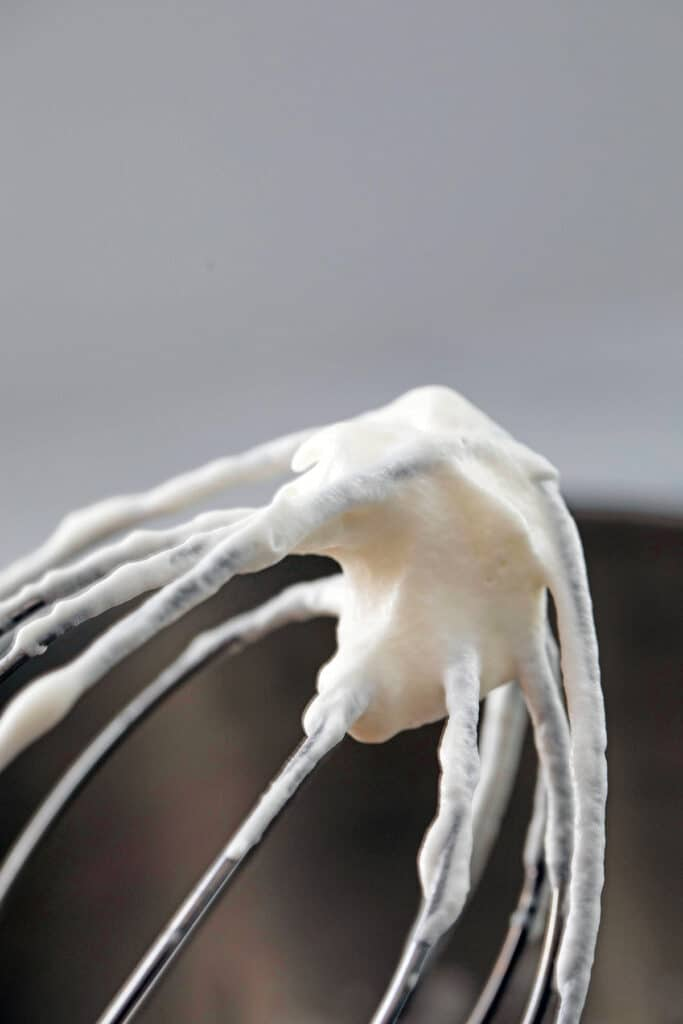 Whipped cream on mixer beater