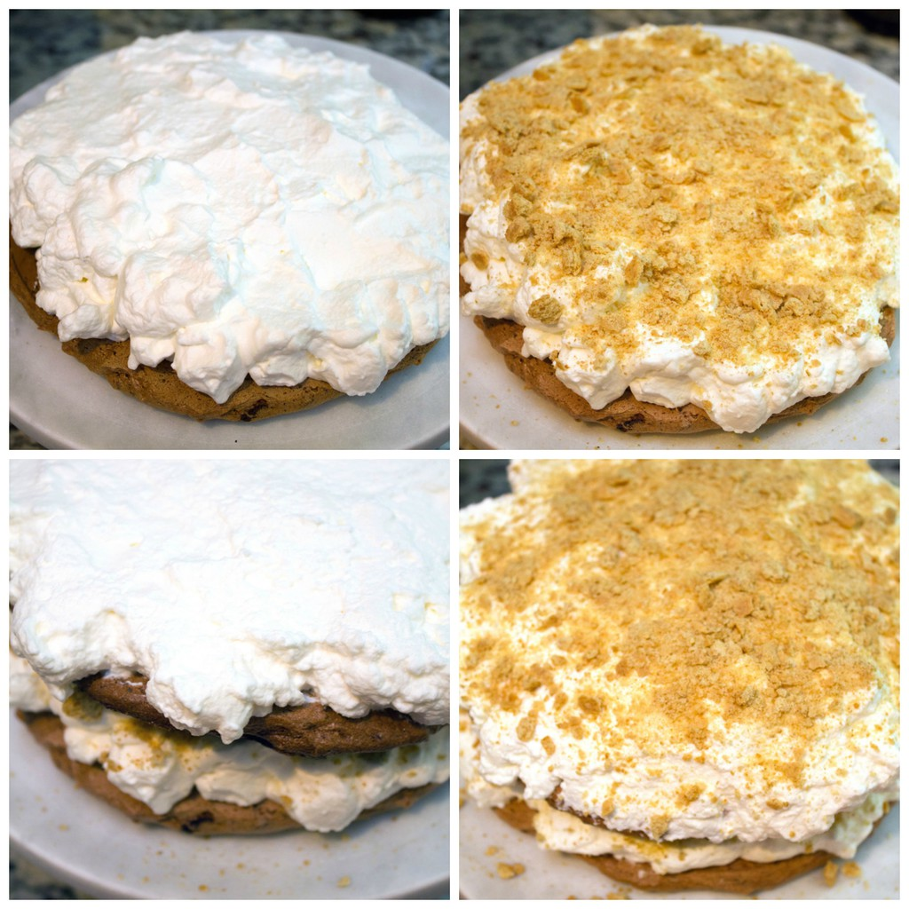 Collage showing process for assembling s'mores pavlova cake, including chocolate pavlova with marshmallow whipped cream on top, pavlova with crushed graham crackers on top, second chocolate pavlova and more whipped cream on top and more graham cracker sprinkles on top