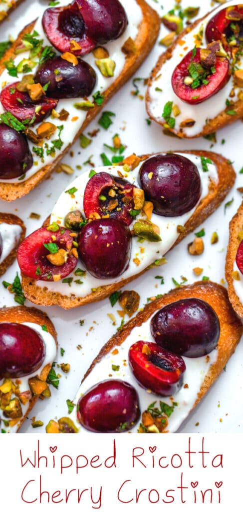 Whipped Ricotta and Cherry Crostini -- Looking for an easy but impressive summer appetizer? These Whipped Ricotta Cherry Crostini are quick and easy to prepare and will wow your guests! | wearenotmartha.com #crostini #partyappetizers #cherryrecipes #summerrecipes #appetizers