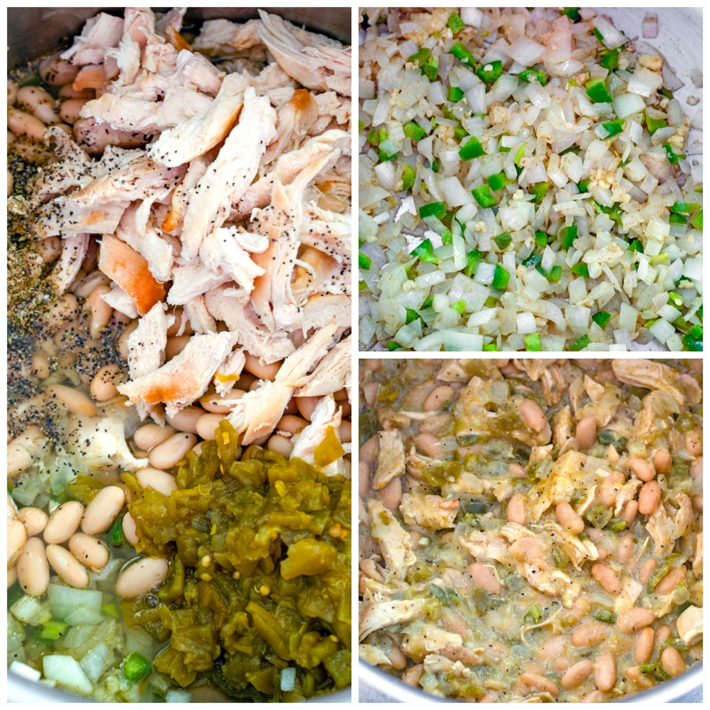 Collage showing process for making white chicken chili, including onions, jalapeño, and garlic cooking in pot; chicken, beans, and diced chiles added in; and chili simmering in pot.