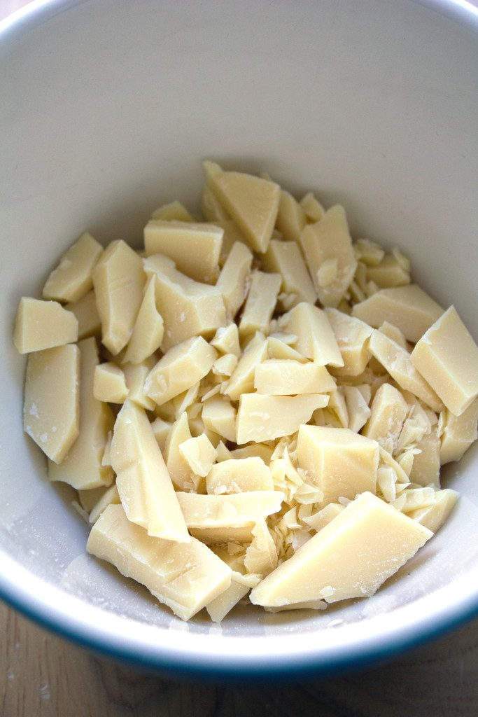Overhead view of chopped white chocolate in a bowl