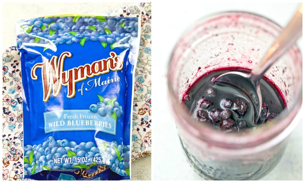 A collage showing a bag of Wyman's frozen wild blueberries and a jar of blueberry sauce with a spoon in it