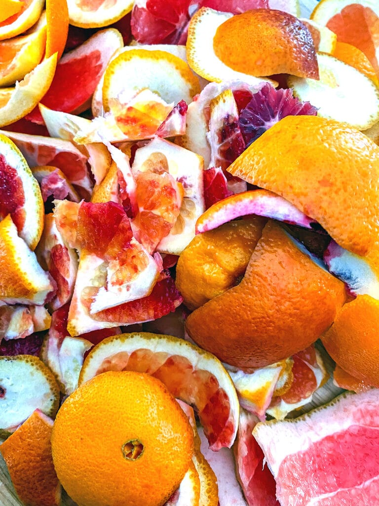 Close-up view of peels from blood oranges, grapefruits, and cara cara oranges